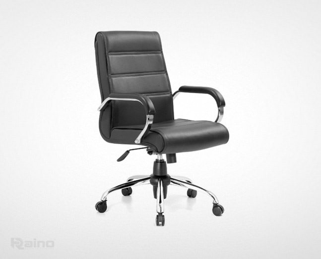نمای نیمرخ صندلی کارشناسی راینو مدل E560S رنگ مشکی