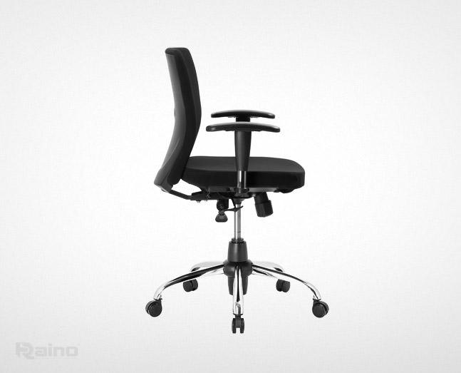 صندلی کارمندی راینو مدل E510B با دسته قابل تنظیم از نمای کنار