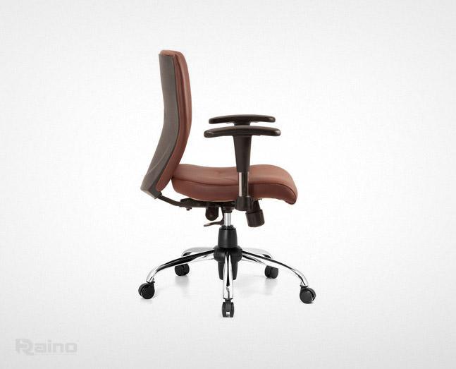 صندلی اداری راینو J510B از نمای کنار رنگ قهوهای