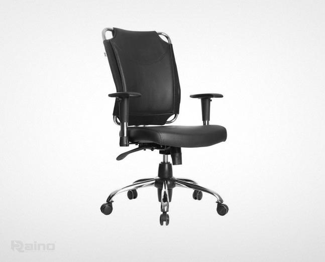 نمای نیمرخ صندلی کارمندی راینو رنگ مشکی