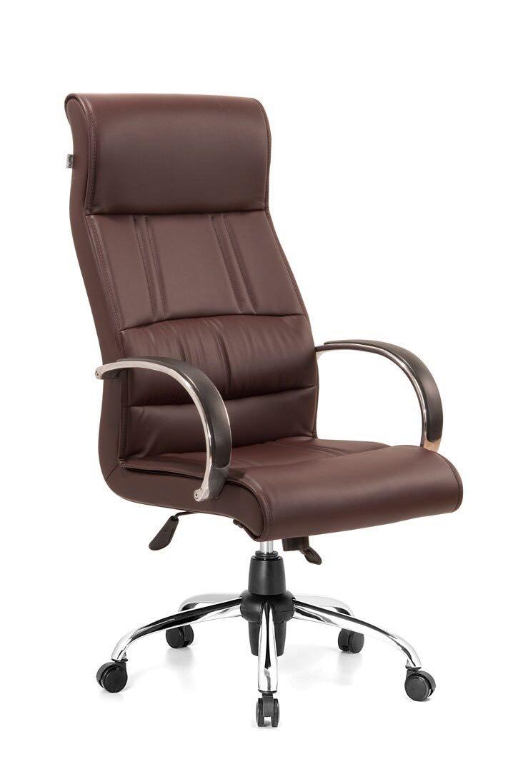 صندلی مدیریت ارگونومیک راینو رنگ قهوهای با دسته آلومینیومی