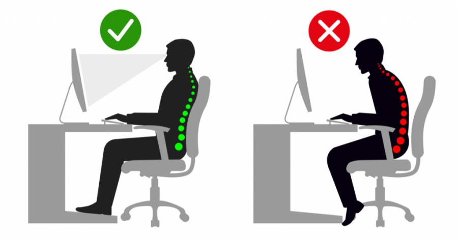 نمای نحوه نشستن صحیح روی صندلی اداری ارگونومیک و راحتی کمر