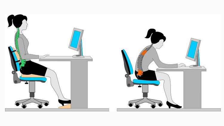 نحوه صحیح نشستن روی صندلی اداری ارگونومیک و نمایش تأثیر آن بر ستون فقرات