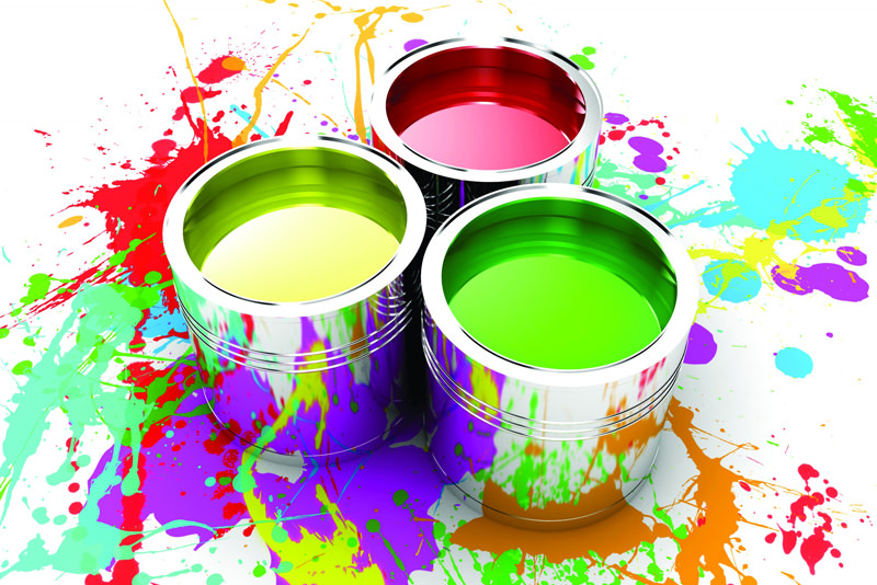 رنگ مایع در رنگ های سبز زرد و صورتی