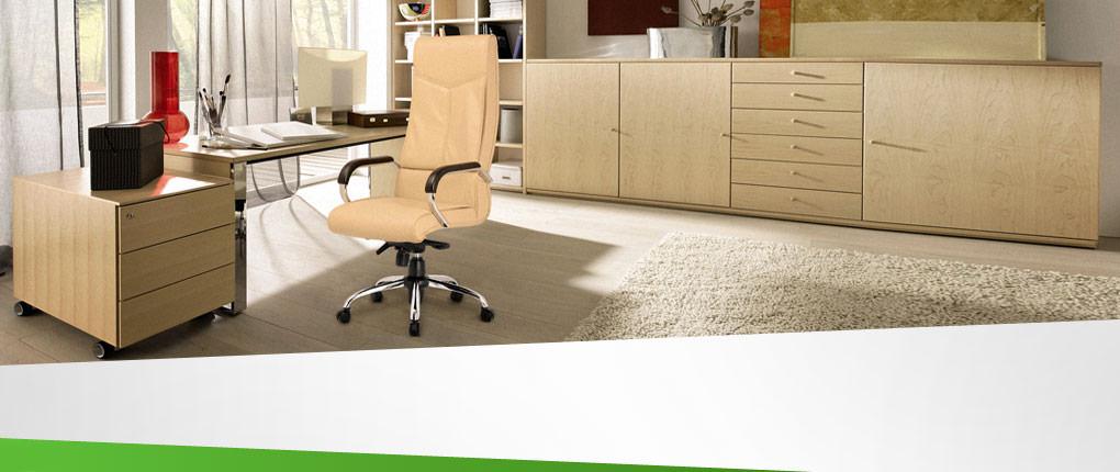 صندلی مدیریت راینو با رویه چرم و دسته انتگرال در محیط کار