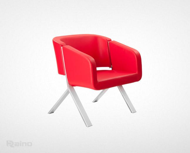 مبل اداری راینو مدل W320-1 رنگ قرمز از نمای نیمرخ