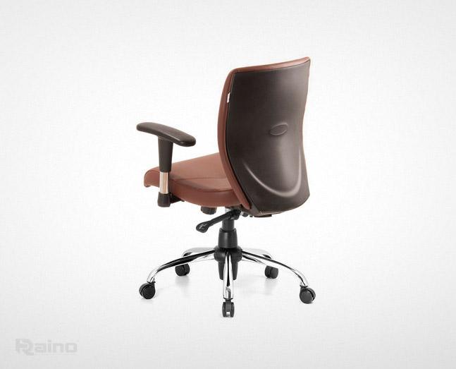 صندلی کارمندی راینو مدل J510B از نمای پشت رنگ قهوهای