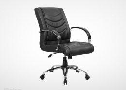 صندلی اداری راینو مدل E530K با رویه چرمی و دسته آلومینیومی