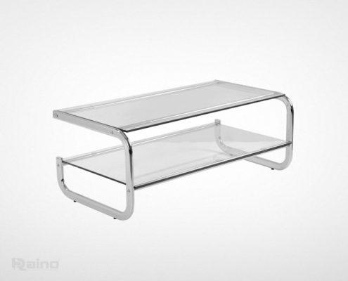 میز جلو مبلی استیل راینو TC300 با پوشش کروم و شیشه سکوریت