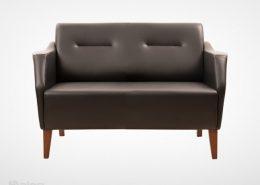 مبل اداری راینو W308-2 مدل دو نفره با رویه چرم و پایه چوبی و رنگ قهوه ای